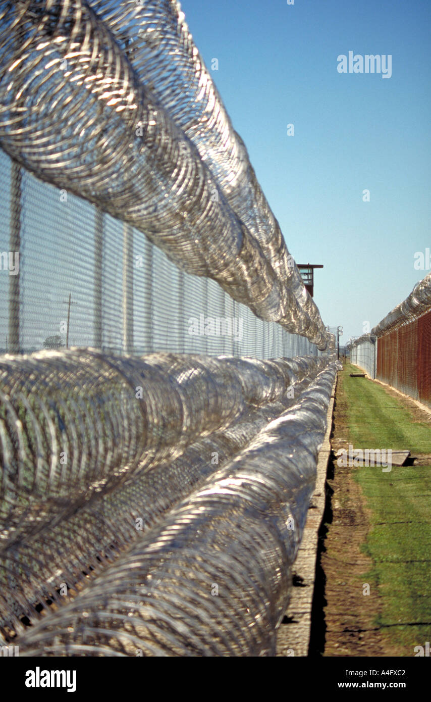 Usa Louisiana Angola Prison fence and barbed wire - Stock Image
