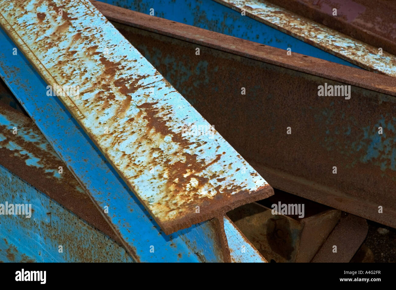 scrap steel girders - Stock Image