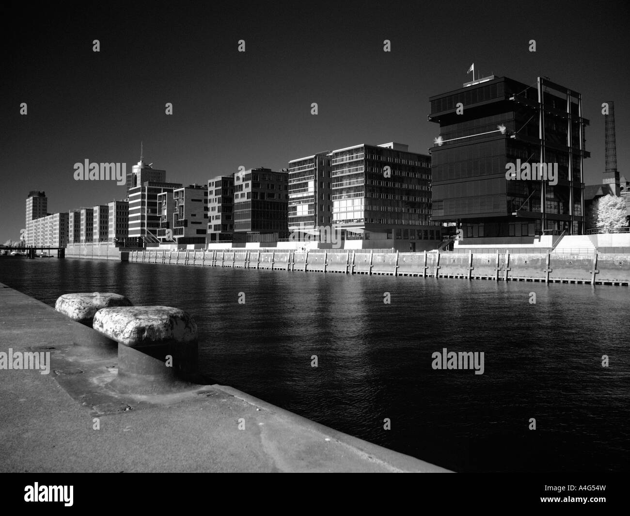 Modern buildings in the harbour of hamburg - Stock Image