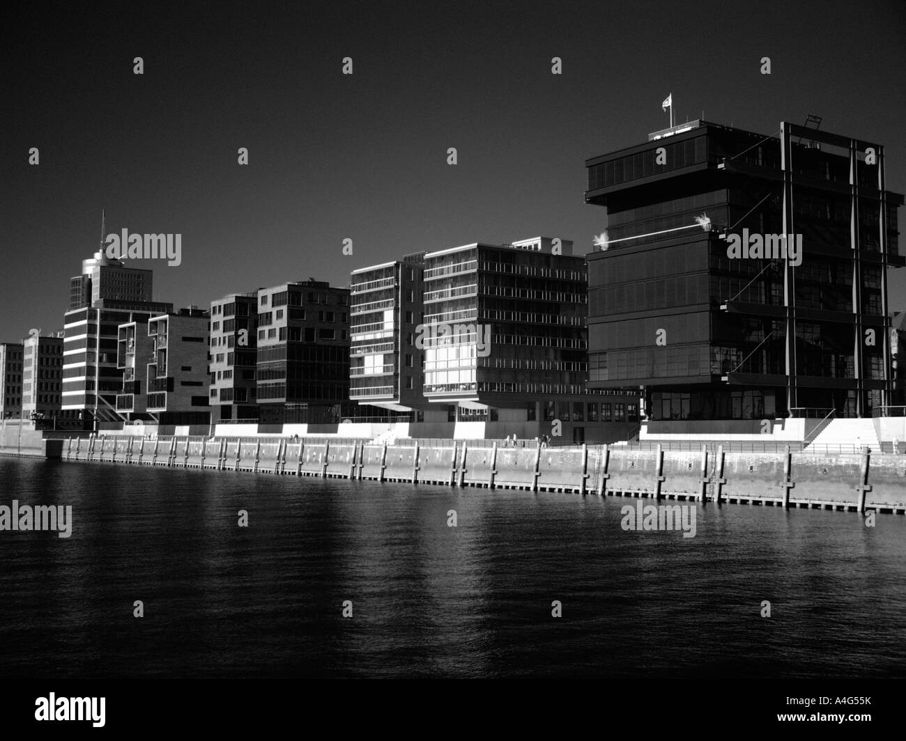 Modern buildings in the harbour of hamburg germany - Stock Image