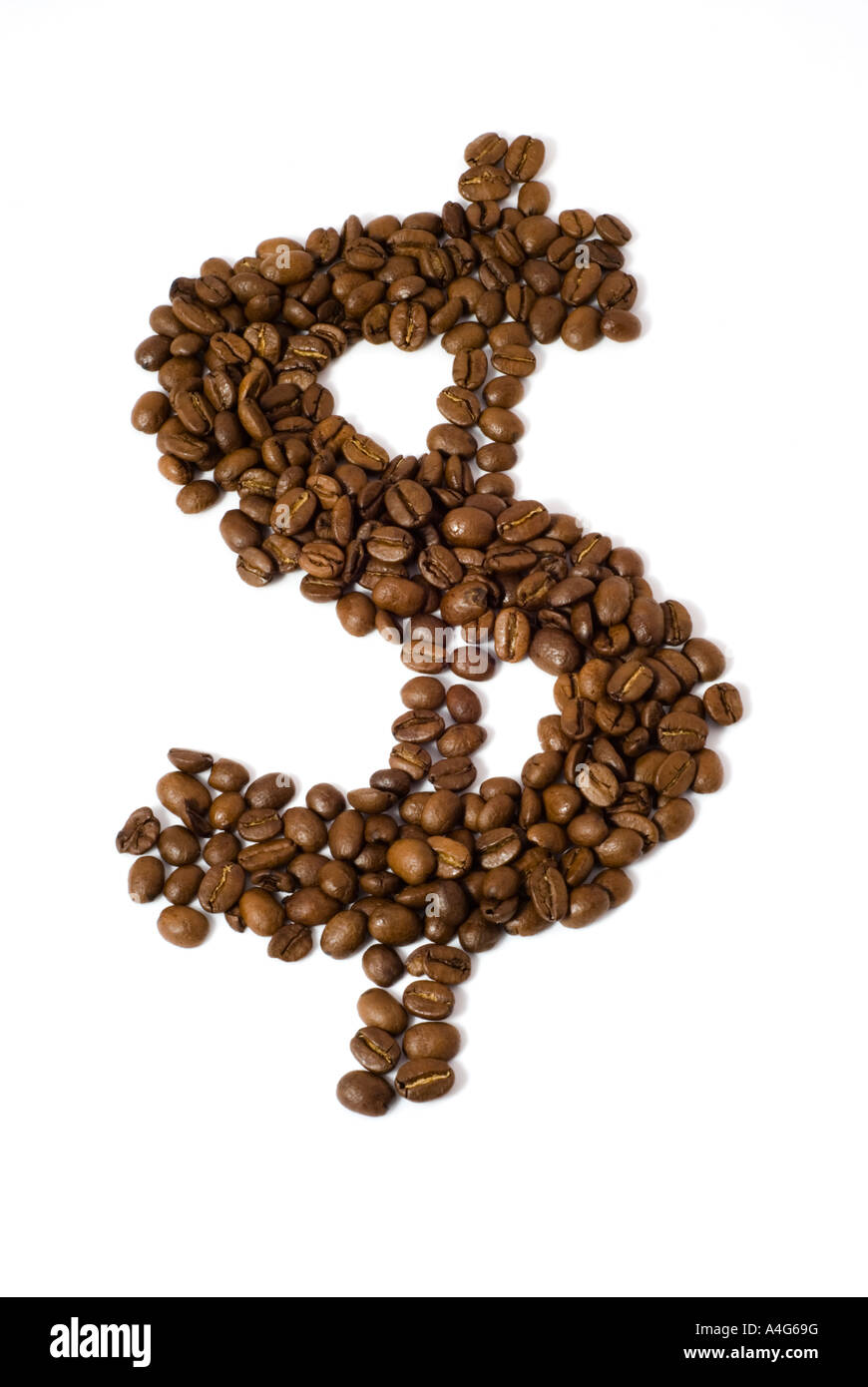 Coffee beans in the shape of a dollar sign isolated on white background with clipping path - Stock Image
