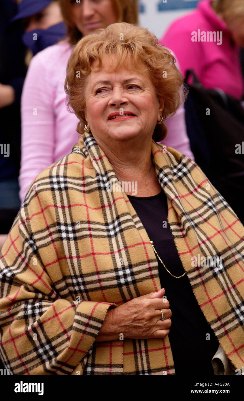Cynthia Payne wearing Burberry shawl at the annual Man v Horse race at Llanwrtyd Wells Powys Mid Wales UK Stock Photo