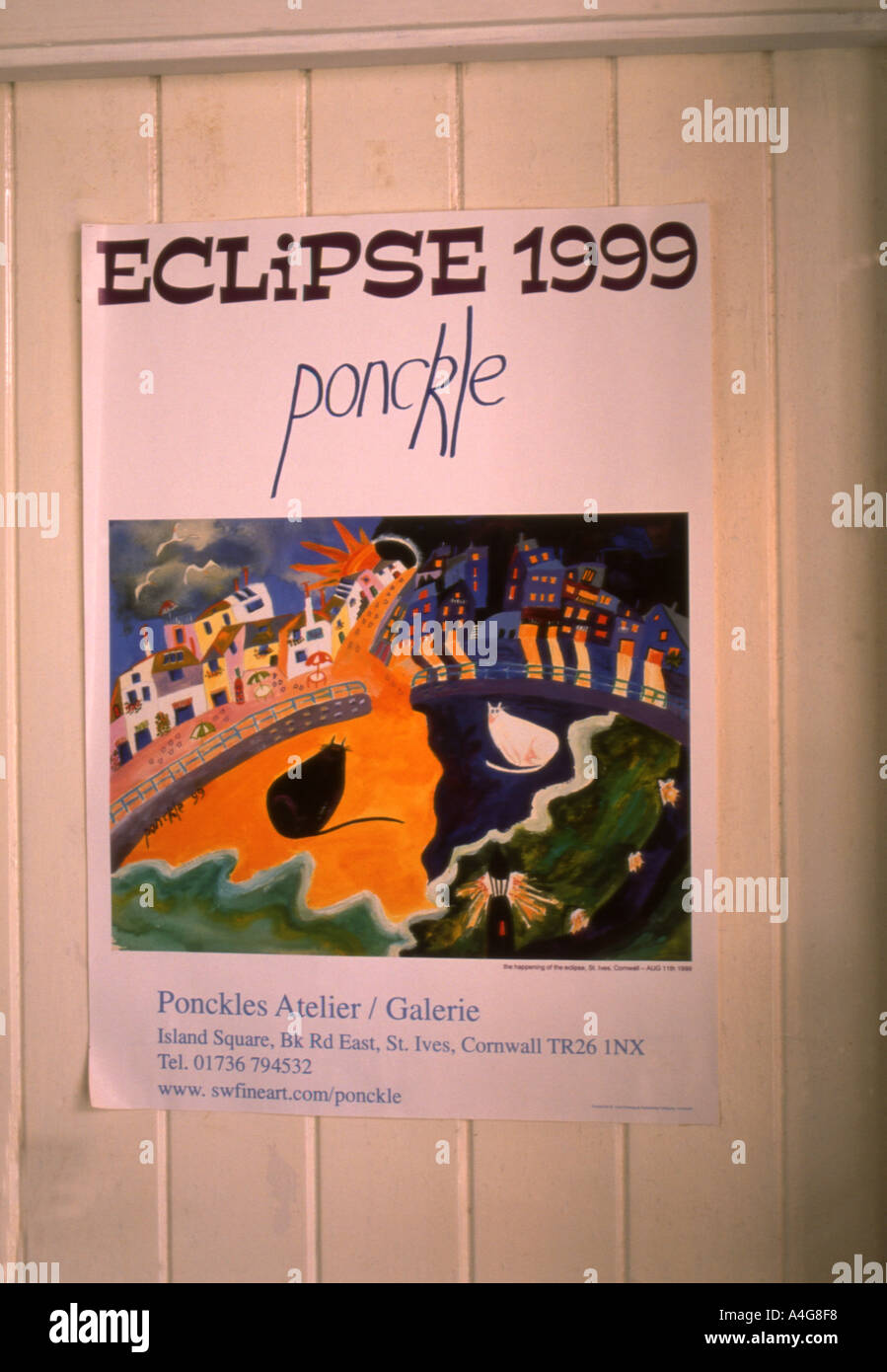 Ponckles poster of the 1999 eclipse as seen by her at St Ives Cornwall England number 1682 - Stock Image