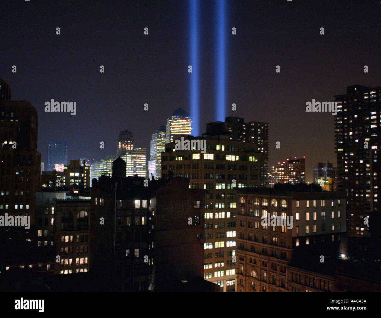 Memorial lights at the site of the World Trade Center - Stock Image