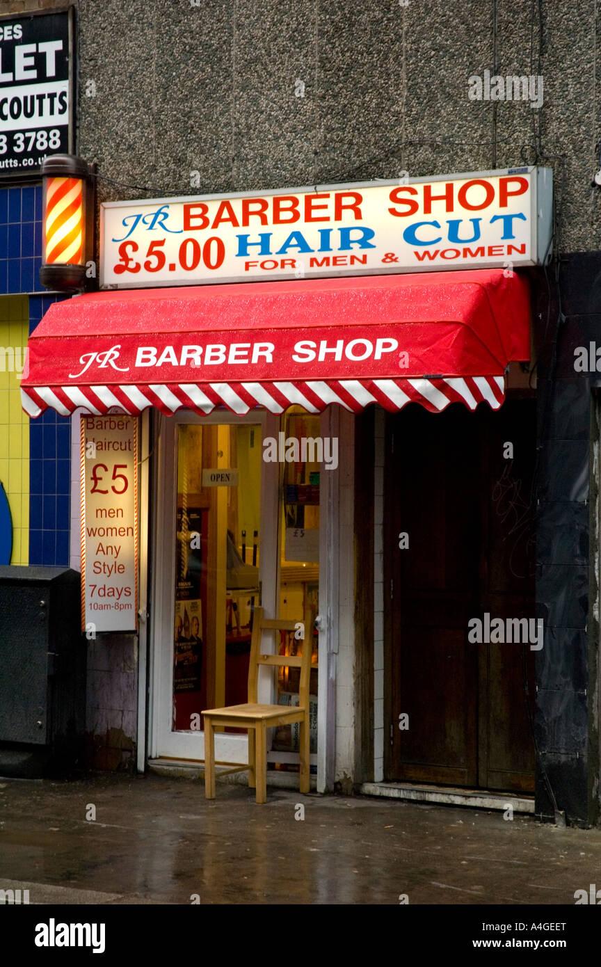 A barber shop Soho central London England UK Stock Photo