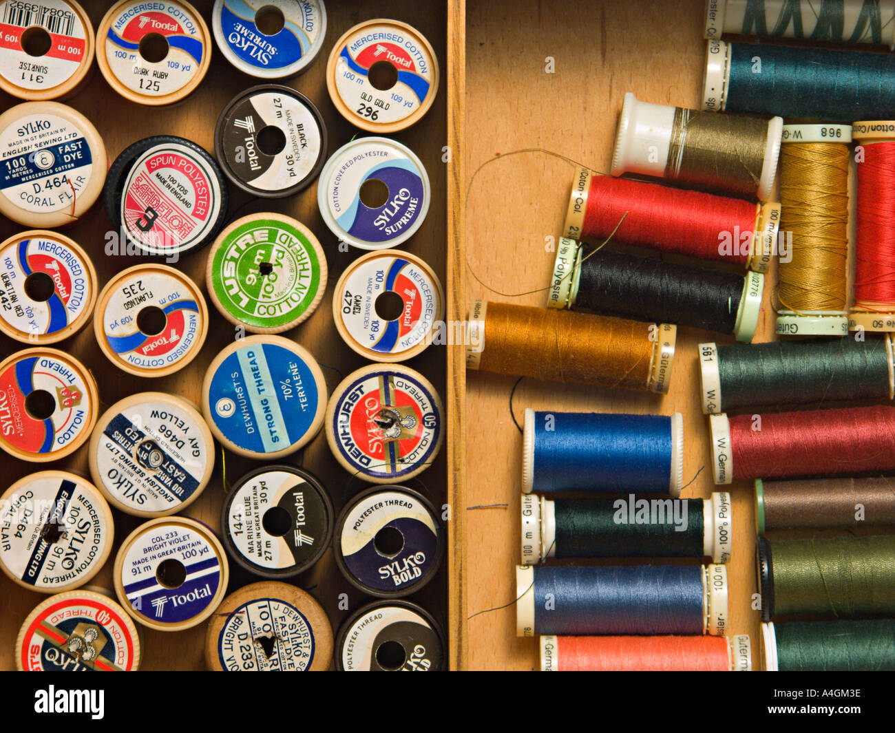 Cotton reels in a workbox - Stock Image