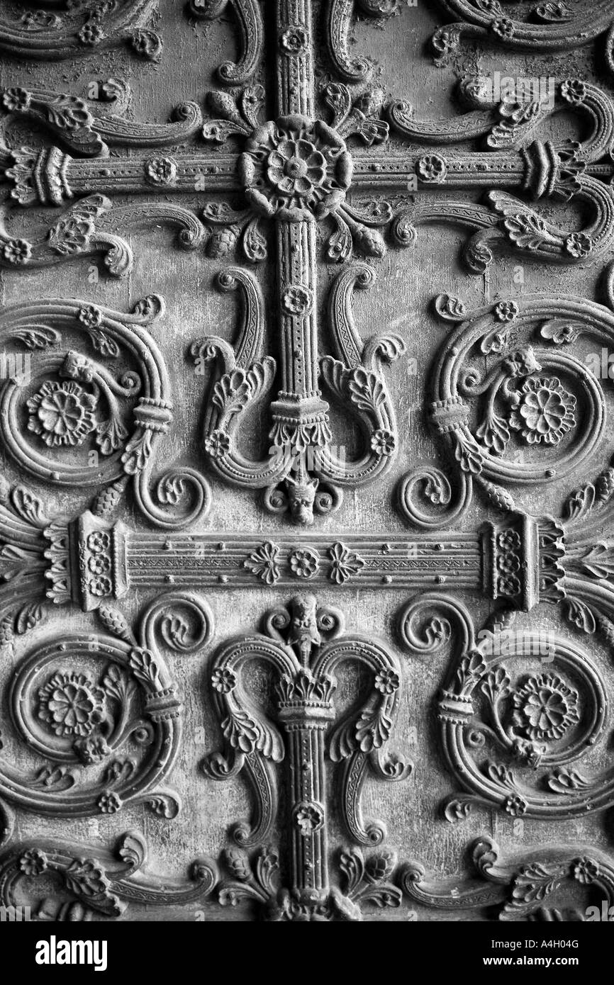 Beautiful metalwork on the west front door of Saint Denis Basilica Paris France - Stock Image