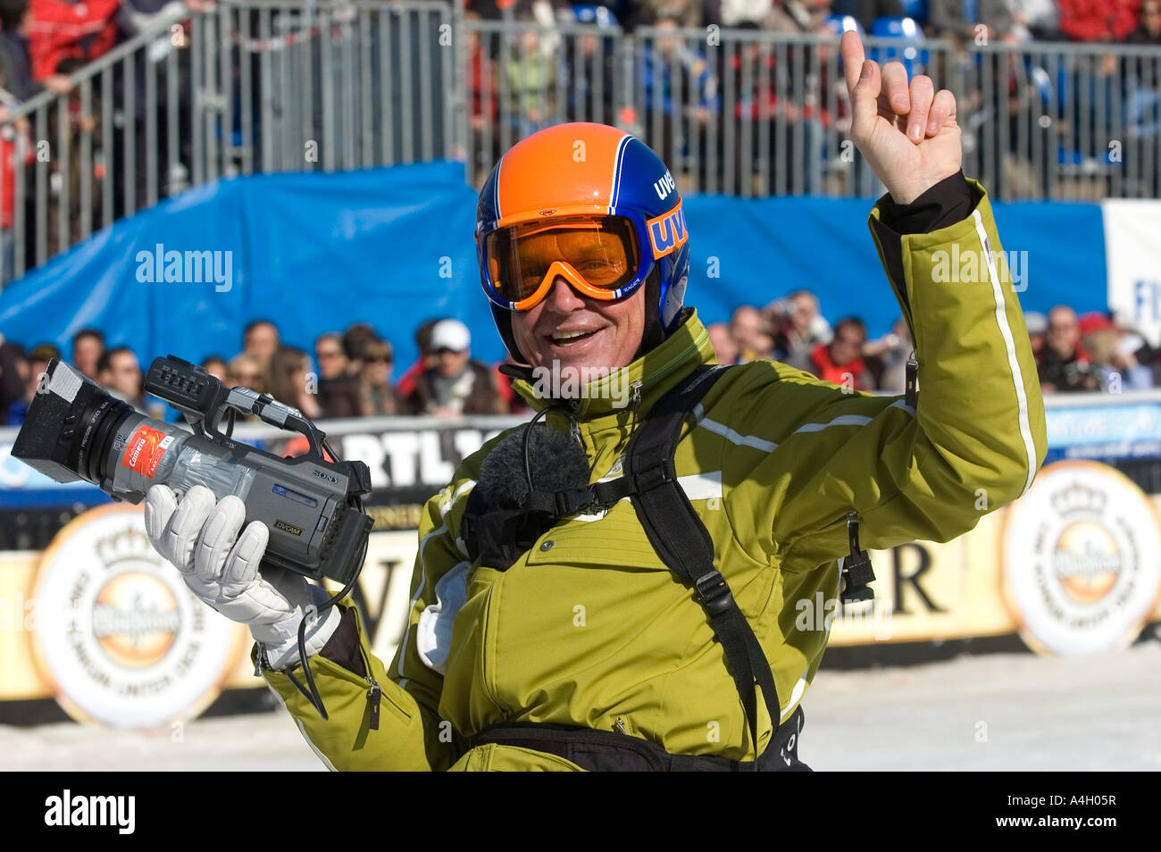 Markus Wasmeier, Camera run, FIS Ski Worldcup, Downhill men, Kandahar race, Garmisch-Partenkirchen, Bavaria, Germany - Stock Image