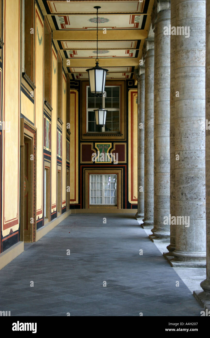 Arcade the old part of the Muenchener Rueckversicherung Munich Re Bavaria Germany - Stock Image