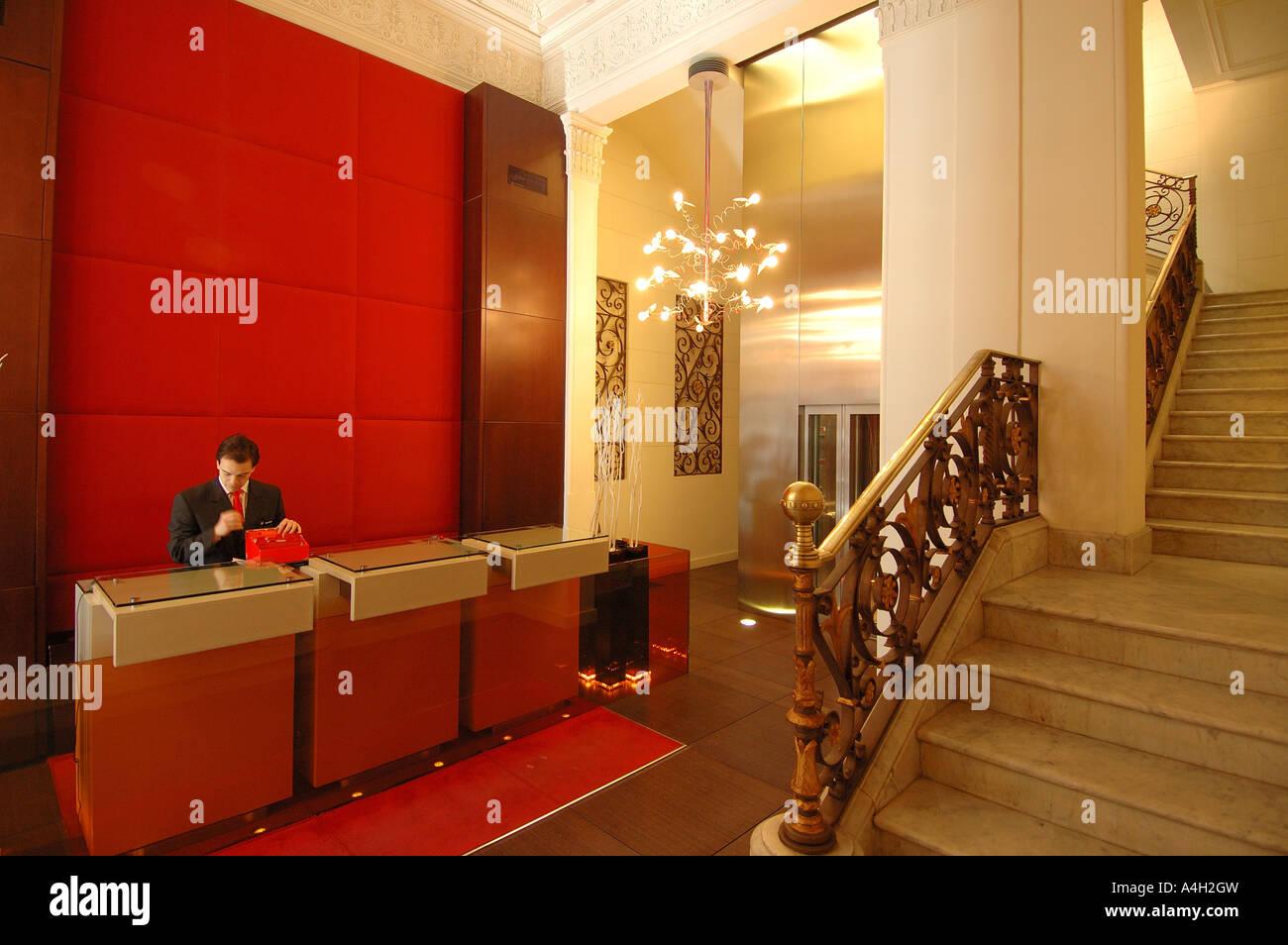 Foyer, hotel Prestige Paseo de Gracia, Barcelona, Catalonia, Spain, Europe - Stock Image