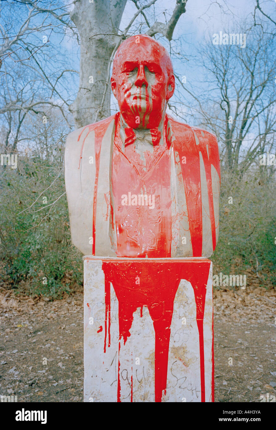 Statue of Winston Churchill daubed with red paint in Budabest, Hungary. - Stock Image