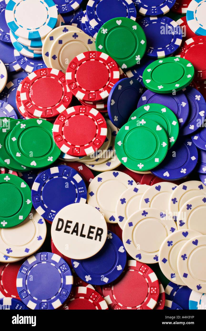 Pile of poker chips - Stock Image