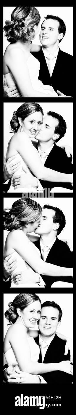 Photo booth photos of a couple - Stock Image