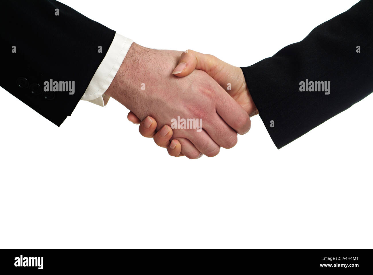 Male and Female Business People Shaking Hands Against a White Background Close Up Cut Out - Stock Image