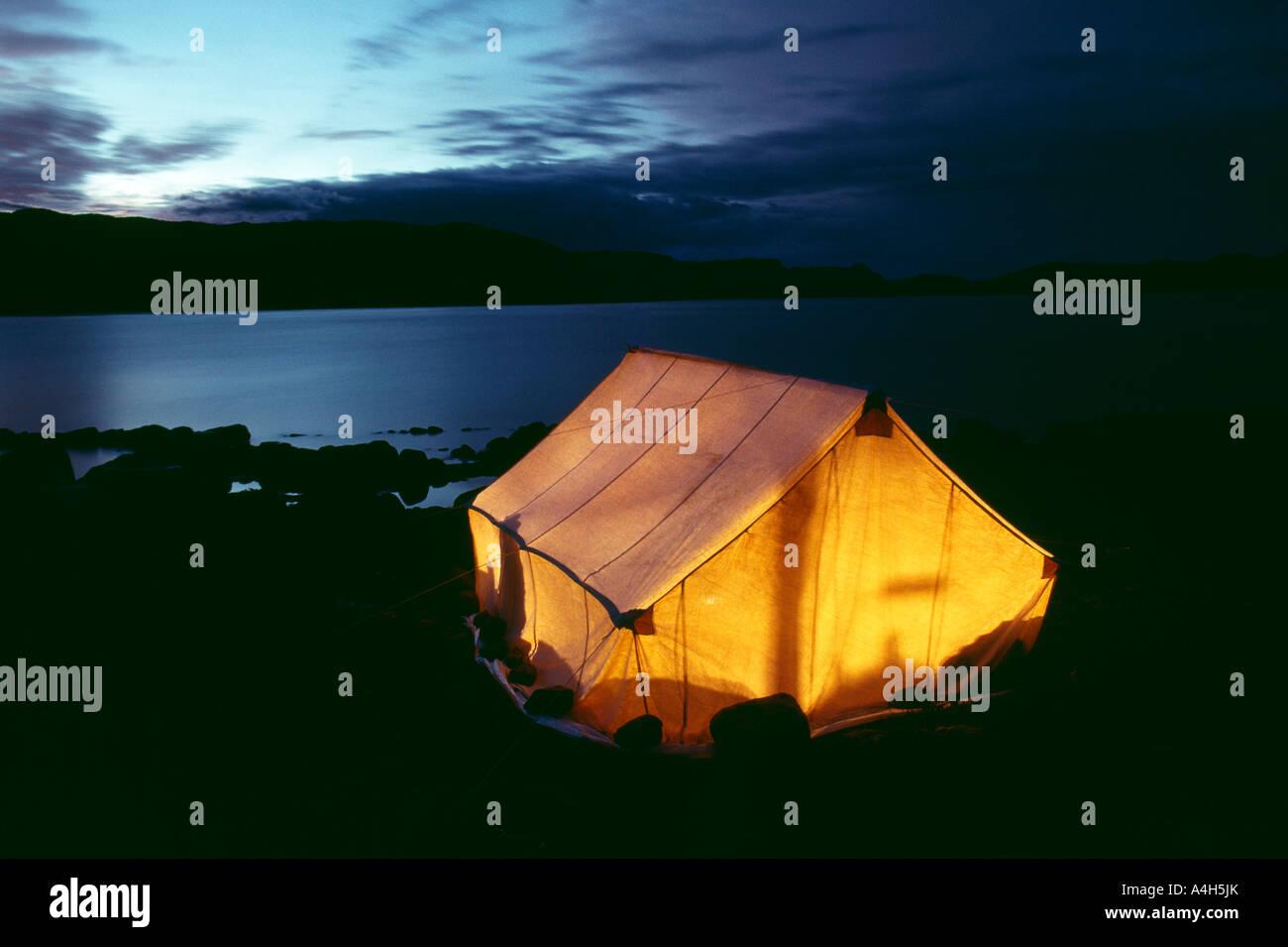 Inuit Tent Camp, Kekerten Island, Historic Whaling Village, Northwest Territories, Canada, - Stock Image