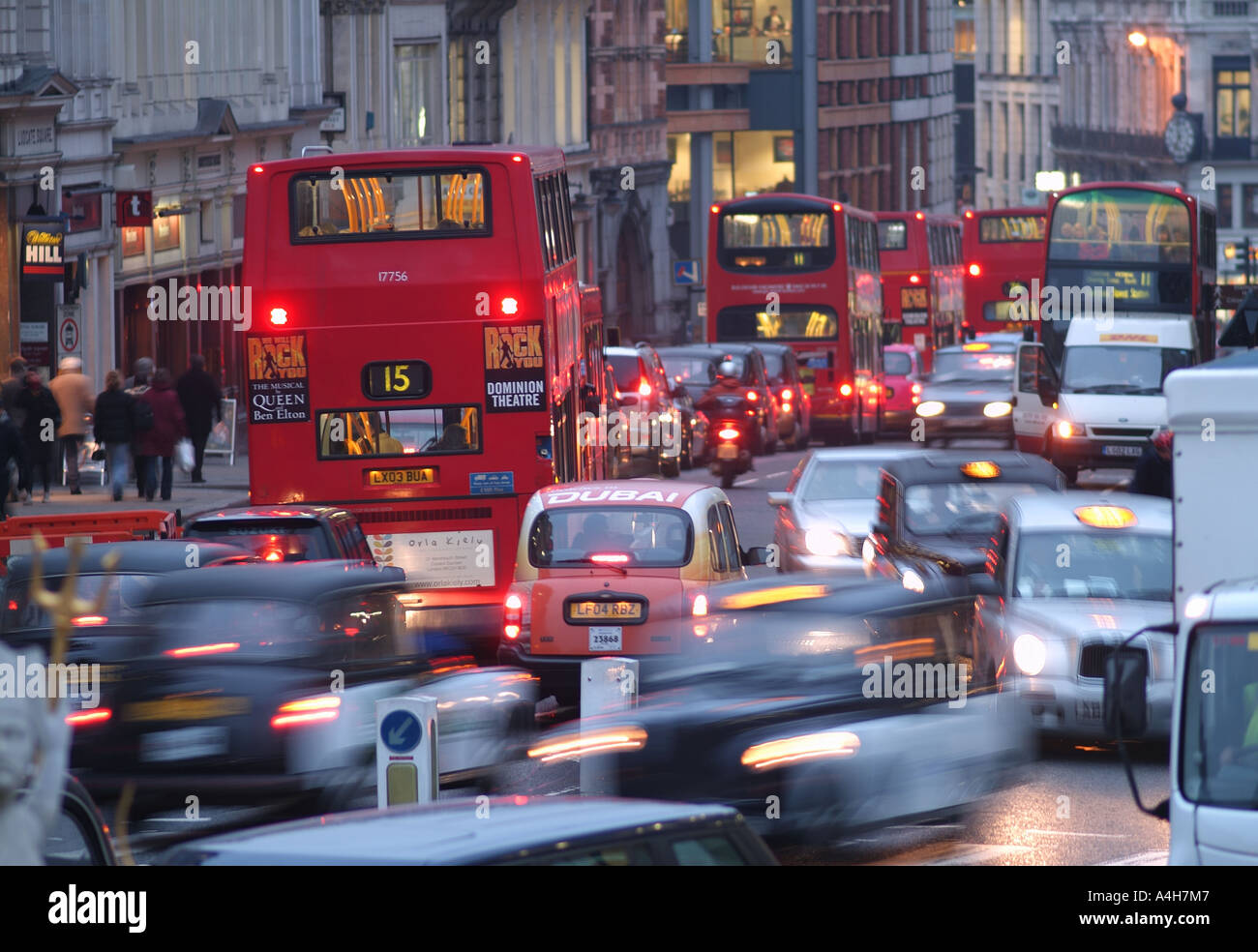 heavy traffic congestion, london, england - Stock Image