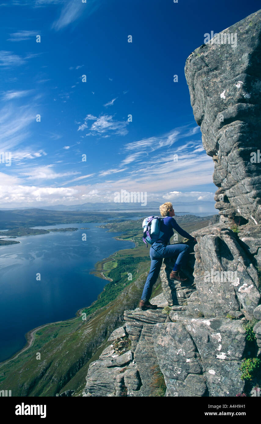 Scrambling on Liathach, Torridon, Ross and Cromarty, Highland, Scotland, UK - Stock Image