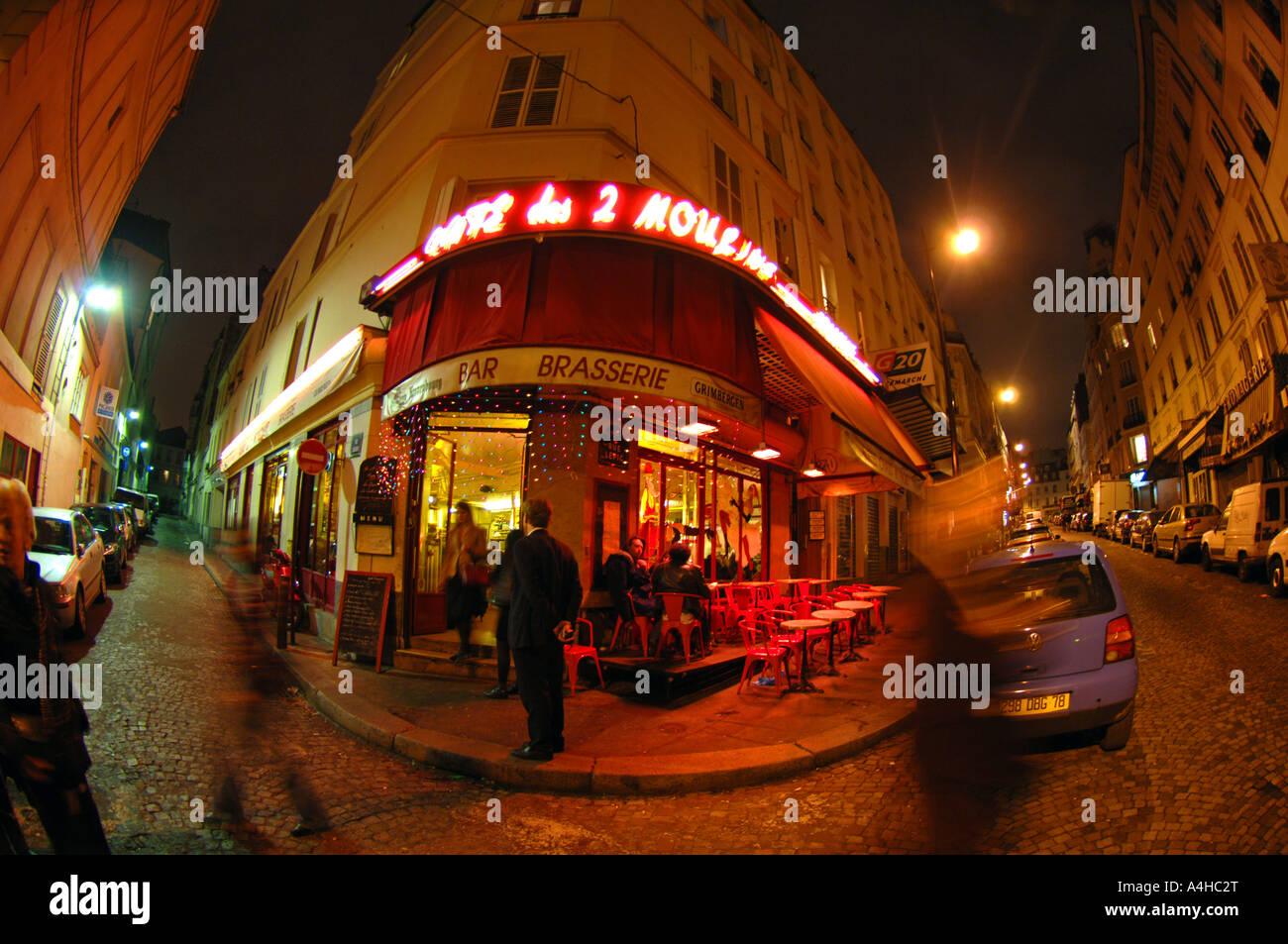 Cafe des deux Moulin Paris France, location for the recording of the film Amelie Stock Photo