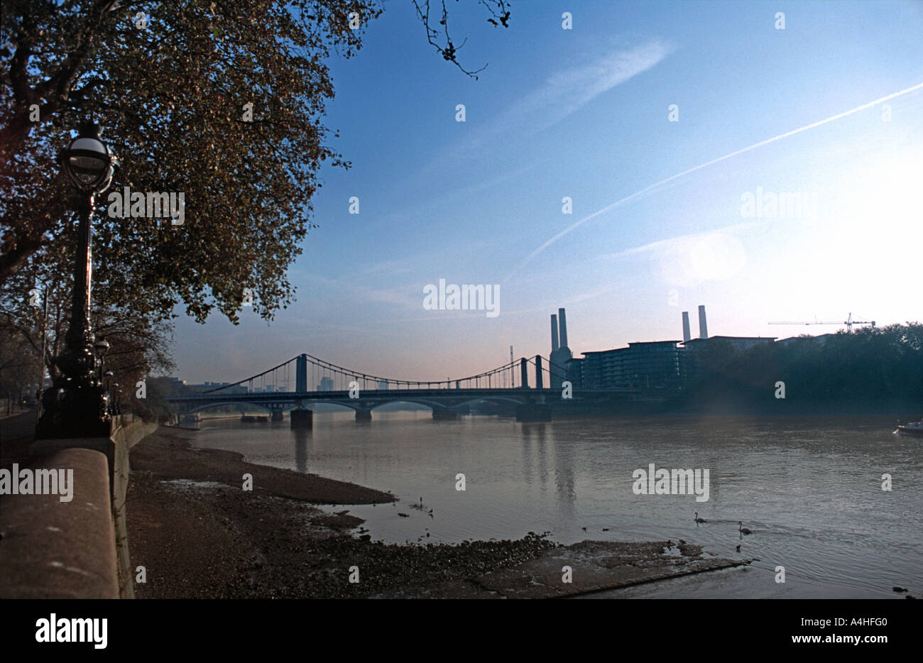 Autumnal view downriver from Chelsea Embankment looking towards Battersea Park and Power Station River Thames Chelsea London UK - Stock Image