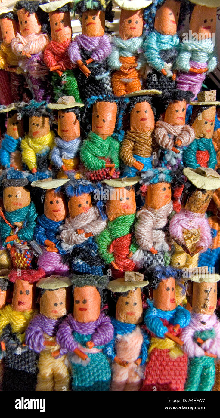Worry dolls make popular tourist souvenirs Here as hair slides Sold on stalls throughout Guatemala Latin America - Stock Image