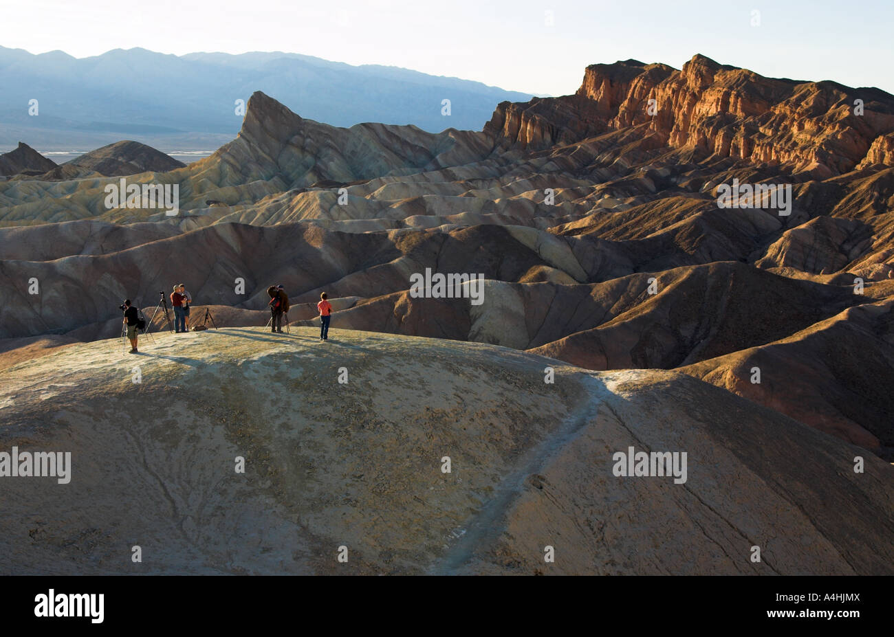 Photographers At Zabriskie Point, Death Valley National Park, USA - Stock Image