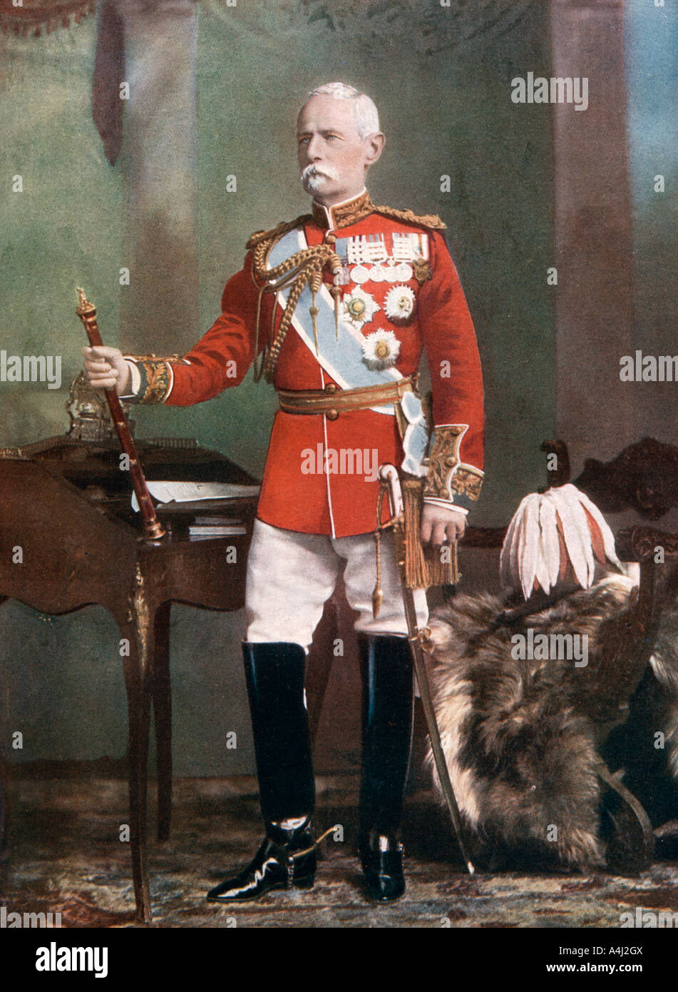 Field Marshal Lord Roberts, Commander in Chief of the forces in South Africa, 1902.Artist: Lafayette - Stock Image