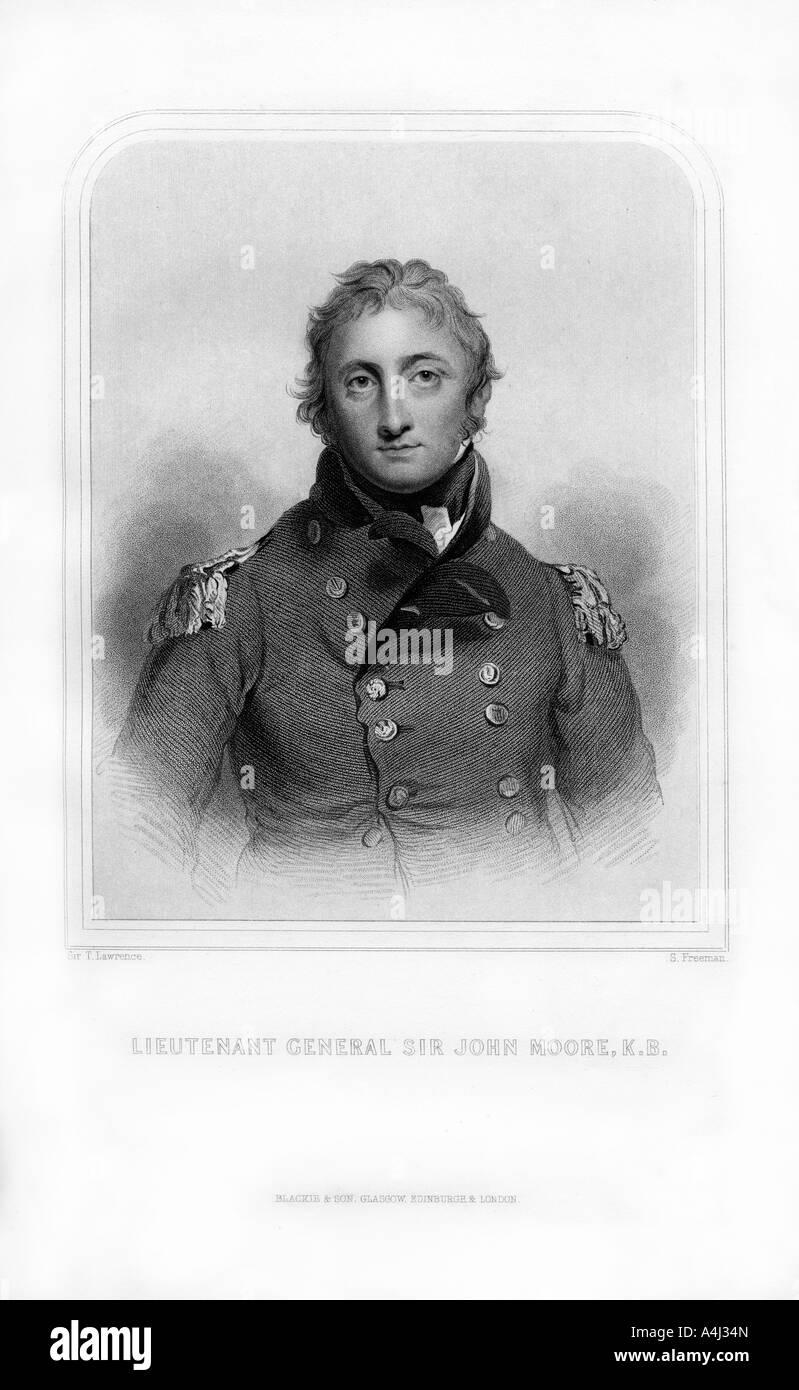 Sir John Moore, British soldier and general, (1870).Artist: S Freeman - Stock Image
