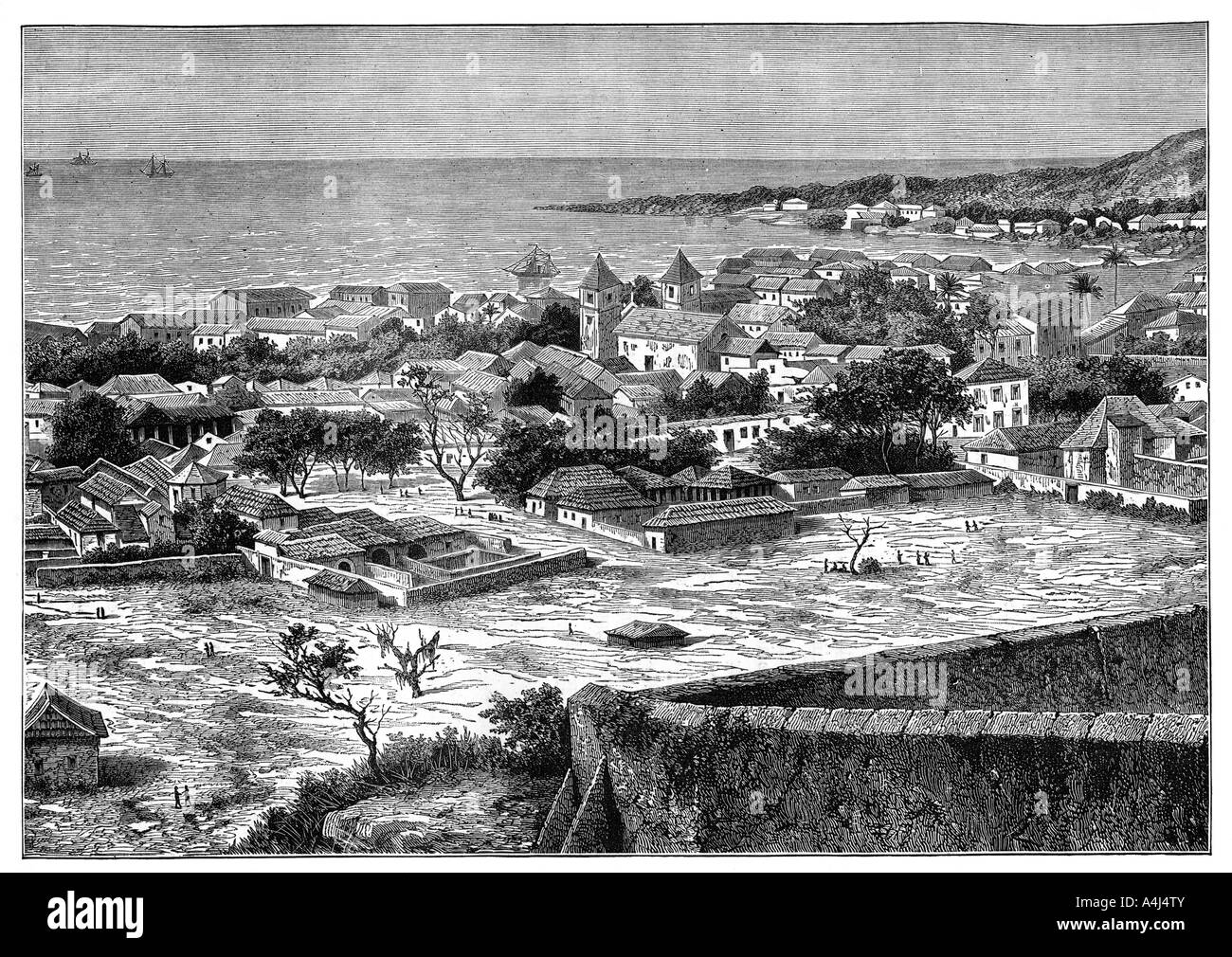 View of the roadstead and town of San Paolo de Loanda Angola West Africa c1890  - Stock Image