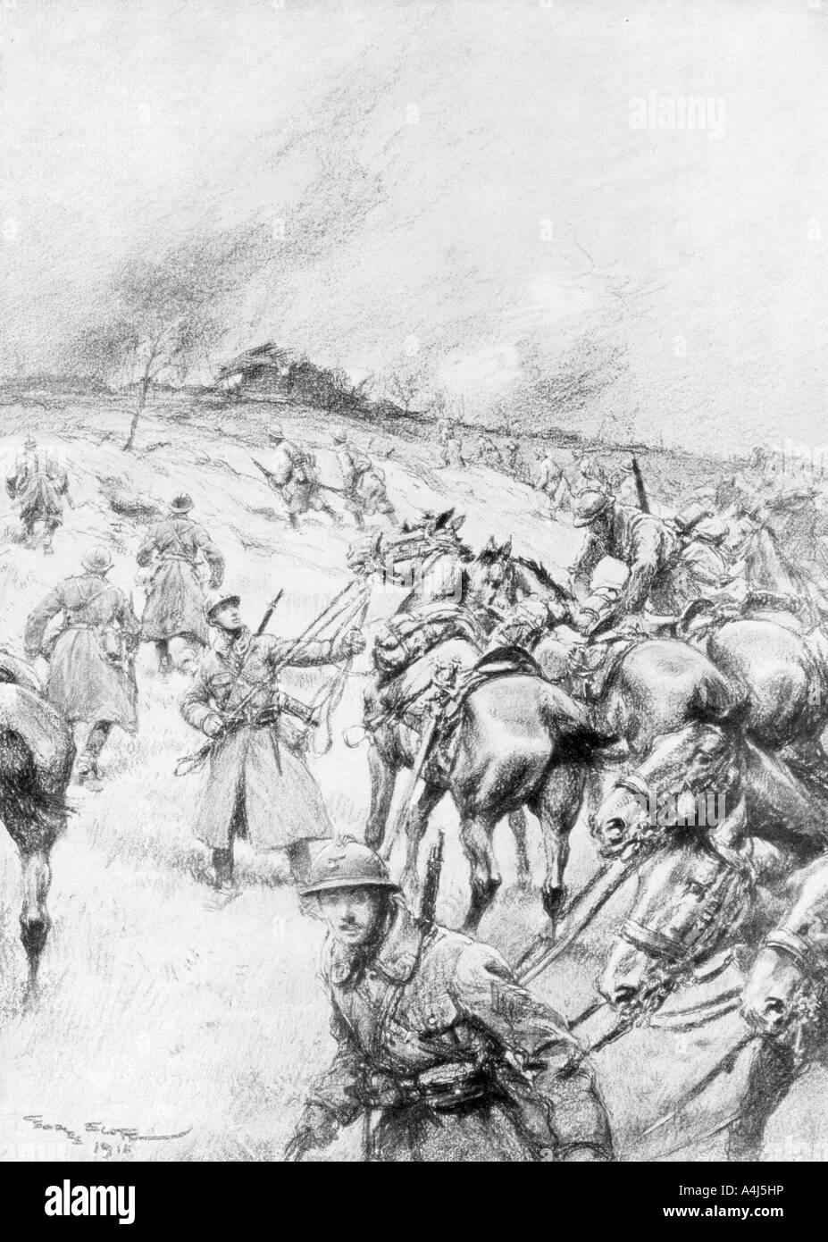 French Cavalry in Action 1918 1926  - Stock Image