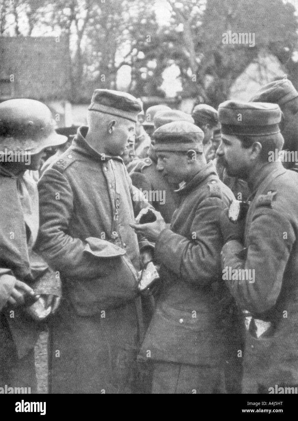 German prisoners taken on 18 April 1918, France. Artist: Unknown Stock Photo
