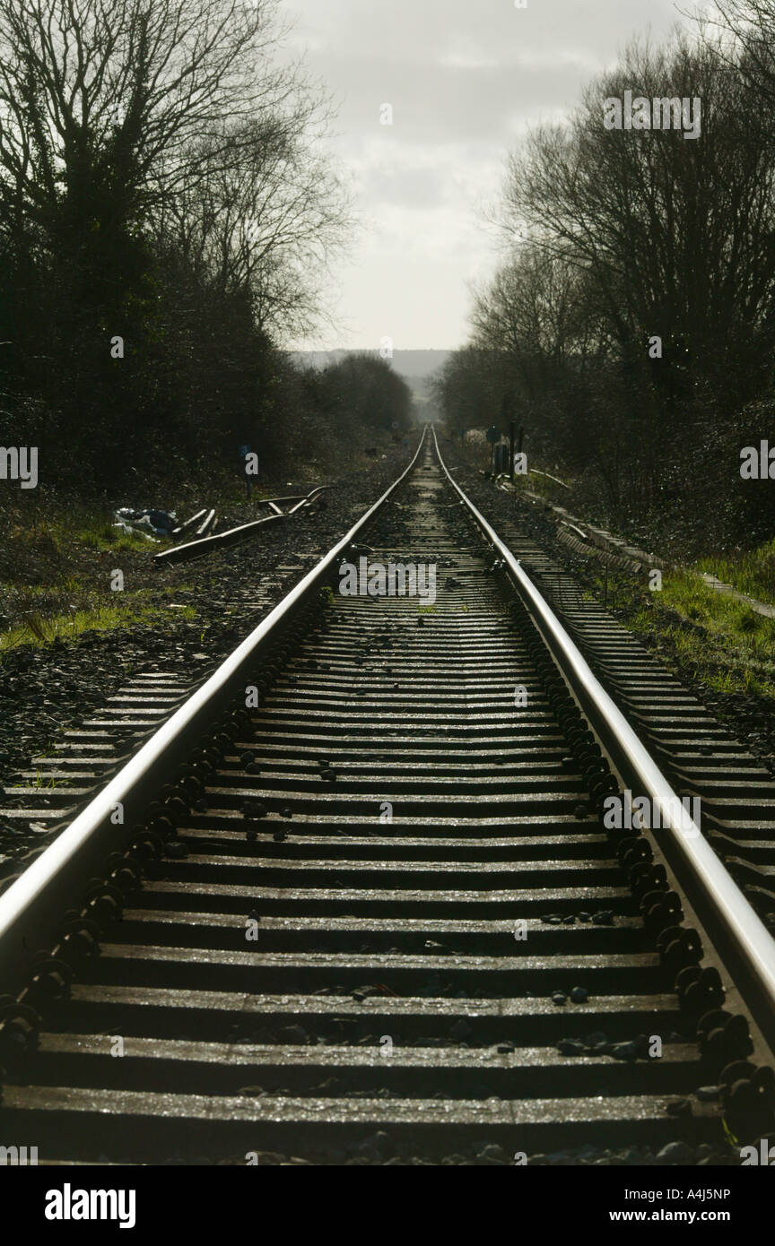 Train tracks near Rye East Sussex UK - Stock Image