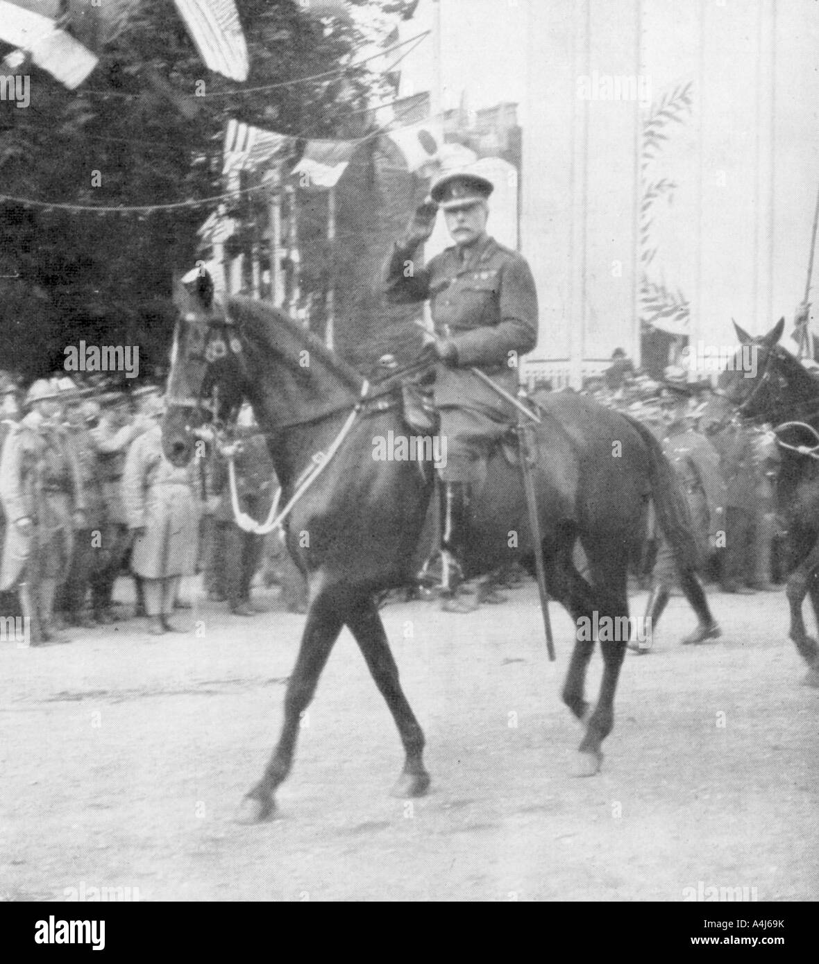 Field Marshal Sir Douglas Haig during the victory parade, Paris, France, 14 July 1919. Artist: Unknown - Stock Image