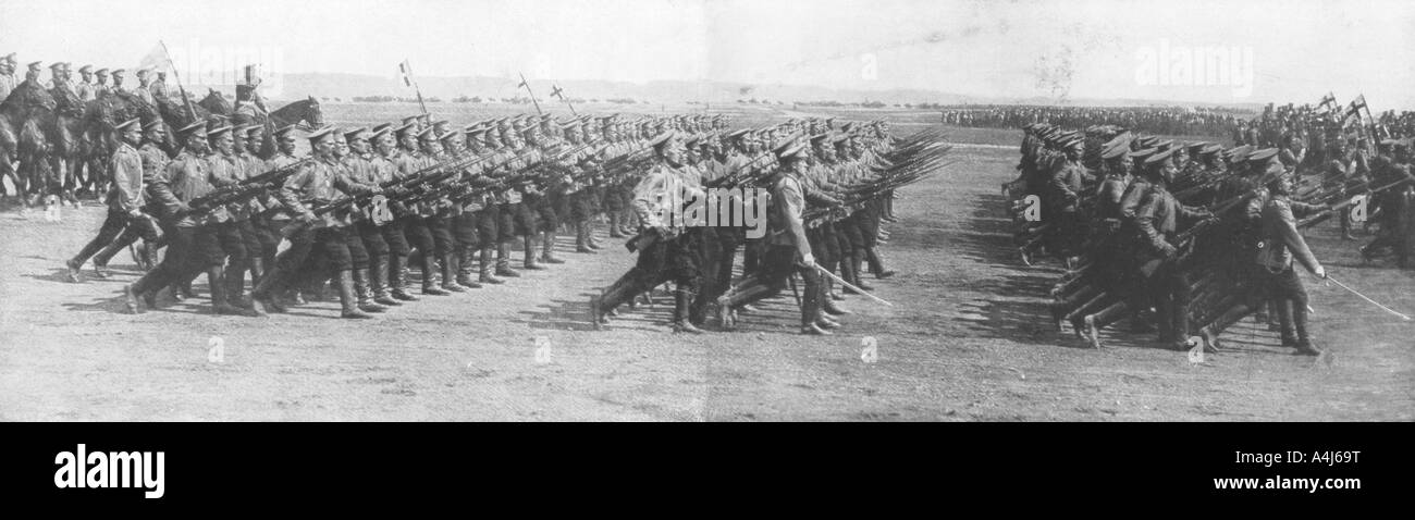 Russian troops parading during French President Raymond Poincare s visit to Russia 22 July 1914  - Stock Image