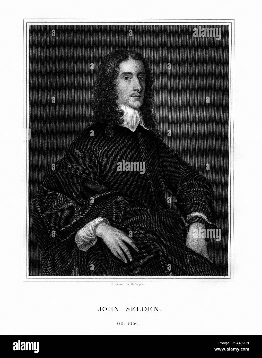 John Selden, English jurist, legal antiquary and oriental scholar, (1823).Artist: R Cooper Stock Photo