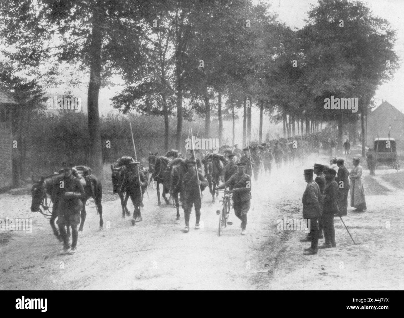 British cavalry lancers, France, 1914. Artist: Unknown - Stock Image
