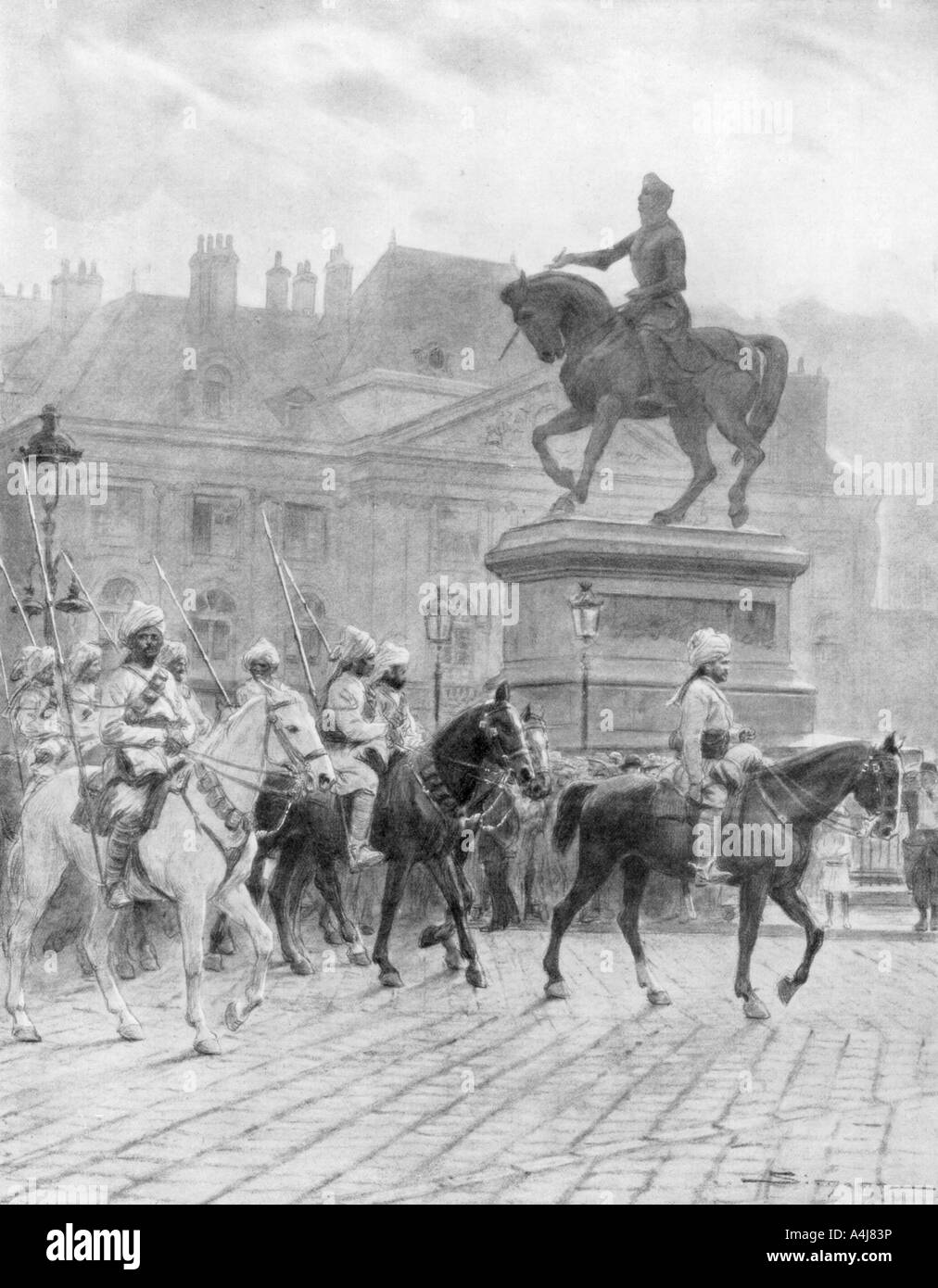 'Bengal Mounted Lancers passing the statue of Joan of Arc', France, 1914, (1926).Artist: J Simont Stock Photo