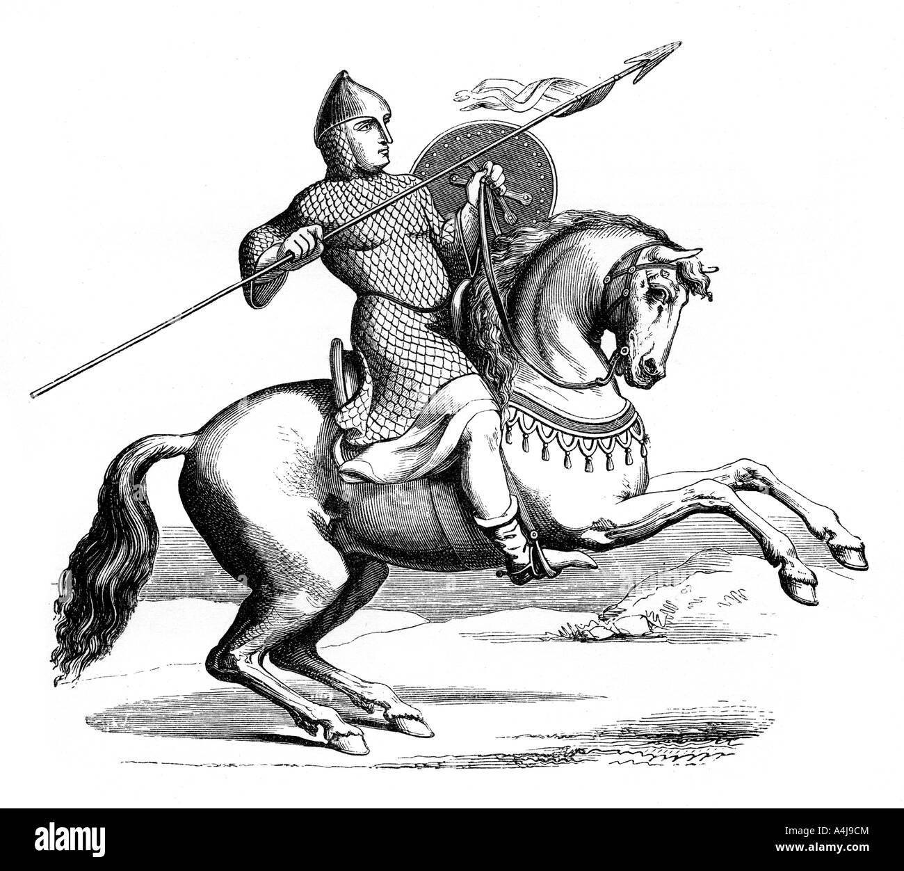 Medieval Knight Horse Black and White Stock Photos & Images - Alamy