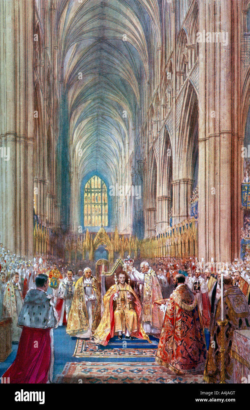'The Act of Crowning', George VI's coronation ceremony, Westminster Abbey, London, 12 May 1937.Artist: - Stock Image