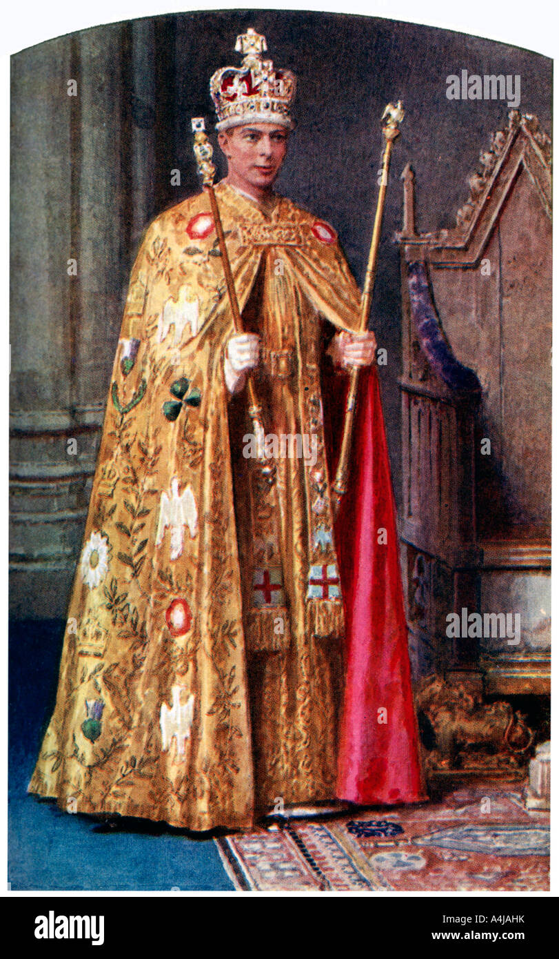 George VI in coronation robes: the Golden Imperial mantle, with St Edward's crown, 1937.Artist: Fortunino Matania - Stock Image