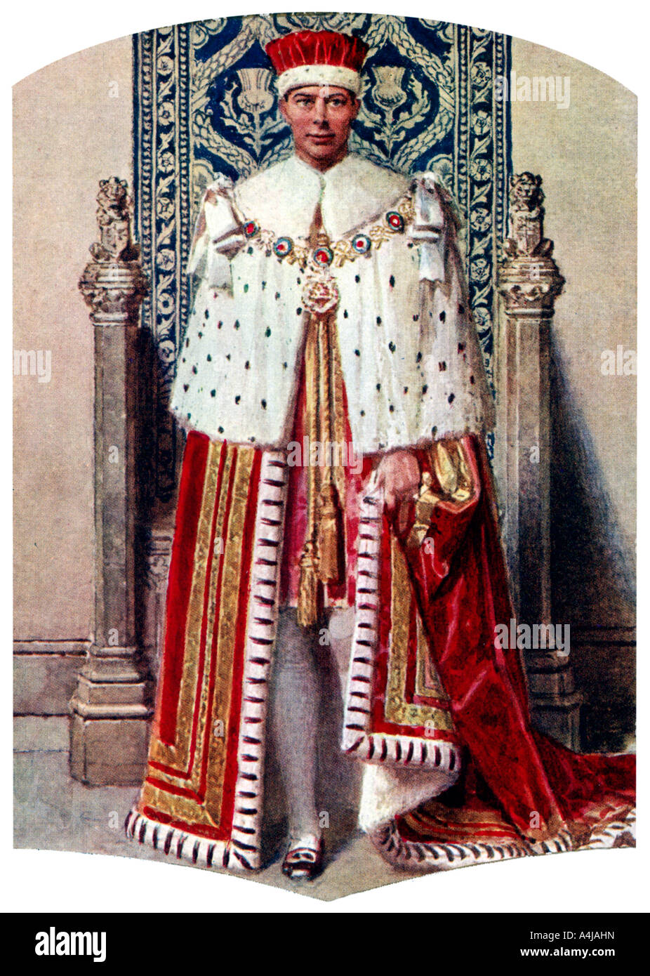 George VI in coronation robes: the Crimson Robe of State, with the Cap of Maintenance, 1937.Artist: Fortunino Matania - Stock Image
