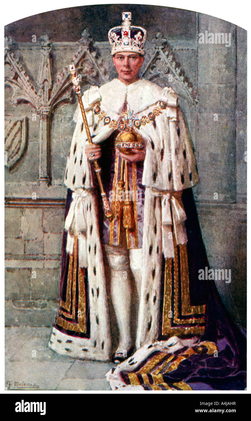 George Vi In Coronation Robes The Robe Of Purple Velvet With The Stock Photo Alamy