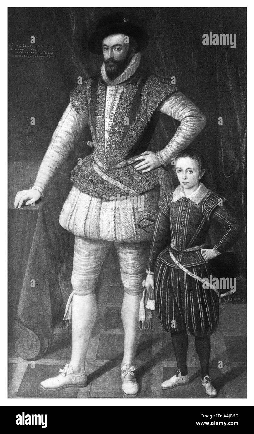 Sir Walter Raleigh and his son 1602 1896  - Stock Image