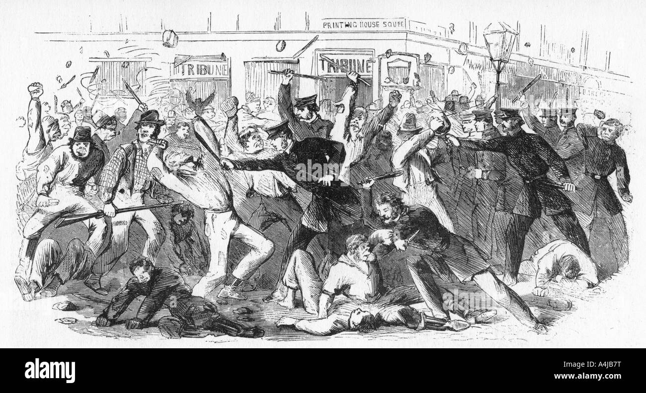 Police Charge Rioters At The Tribune Office c1860s  - Stock Image