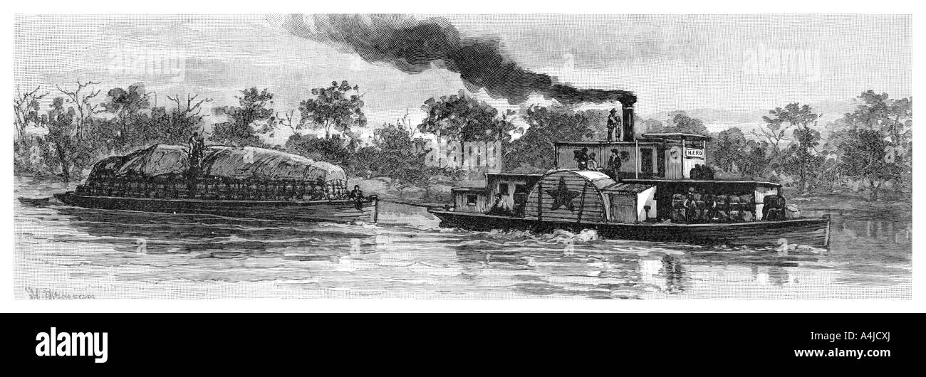 Wool barge on the River Darling Australia 1886  - Stock Image