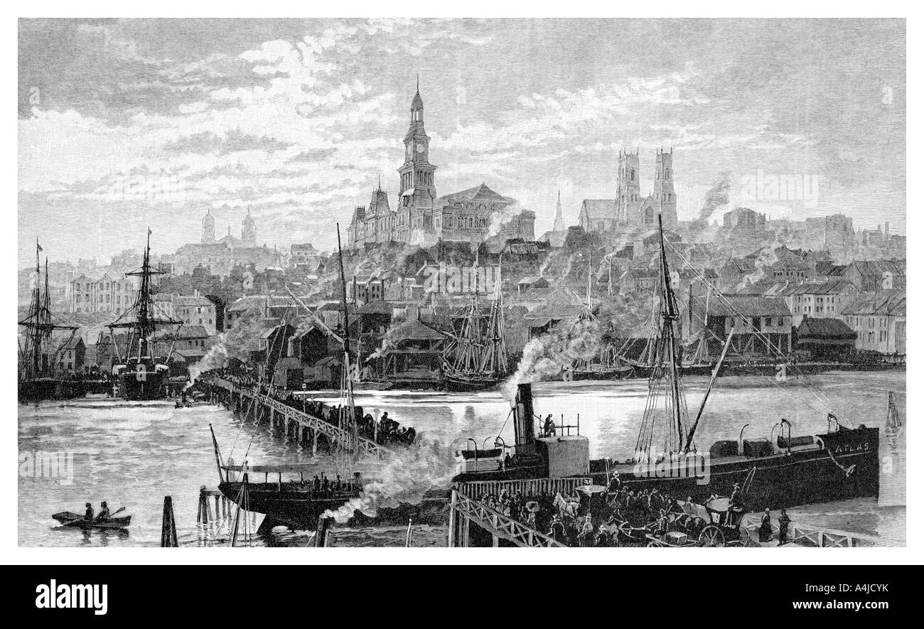 Darling harbour from Pyrmont Sydney New South Wales Australia 1886  - Stock Image