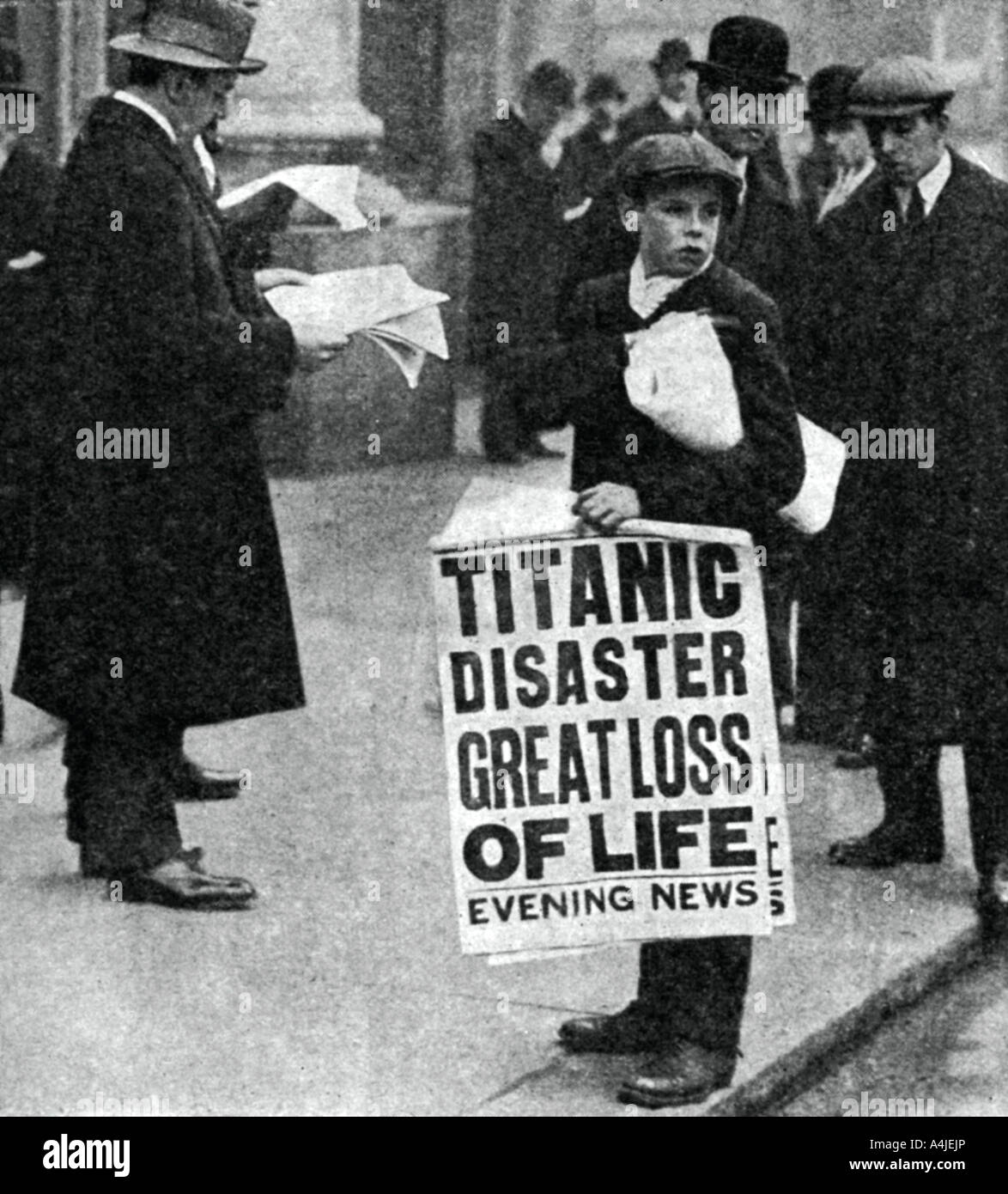 Newspaper boy with news of the Titanic disaster, 14 April 1912. Artist: Unknown Stock Photo