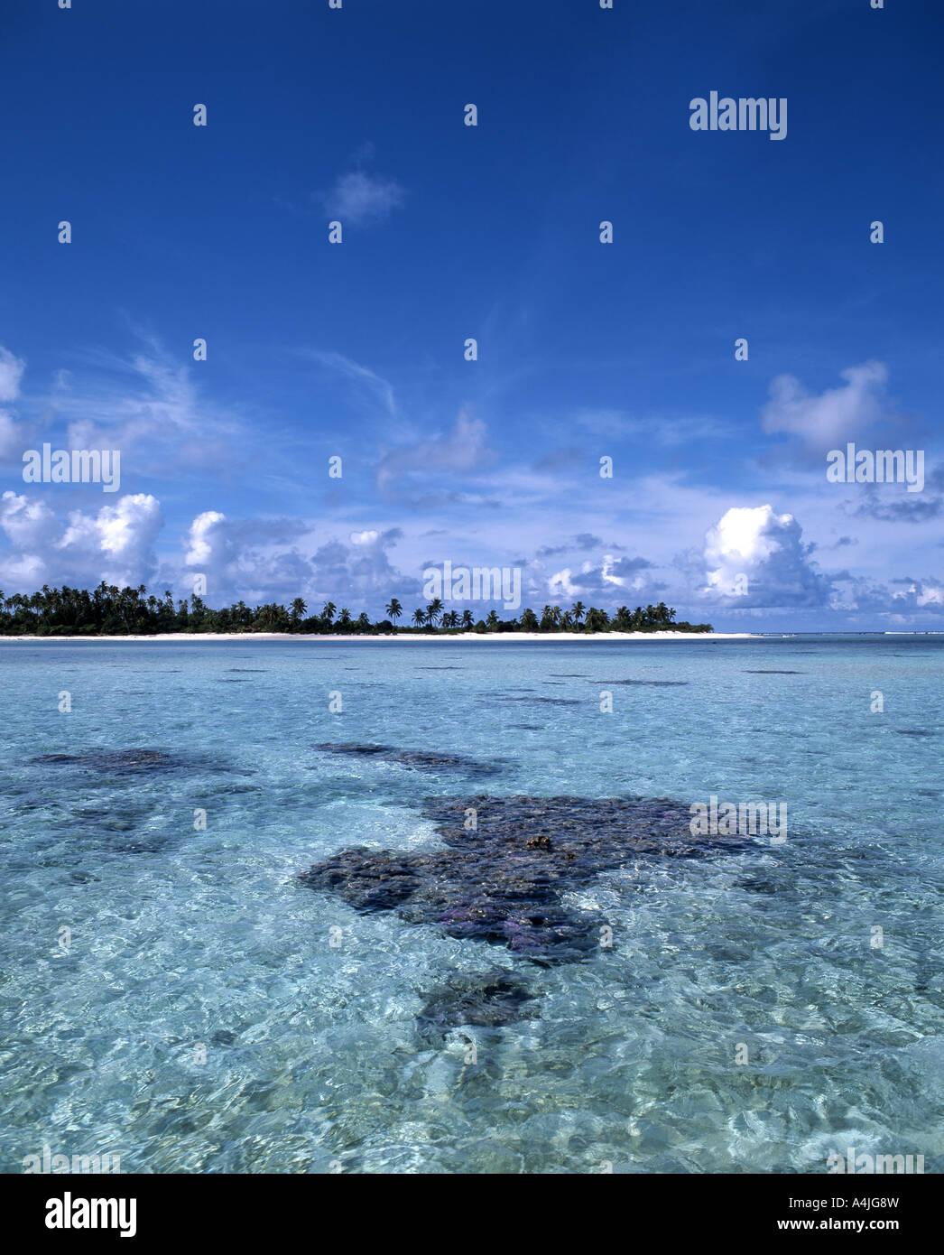 Tropical Island, Aitutaki Atoll, Cook Islands, South Pacific Ocean - Stock Image