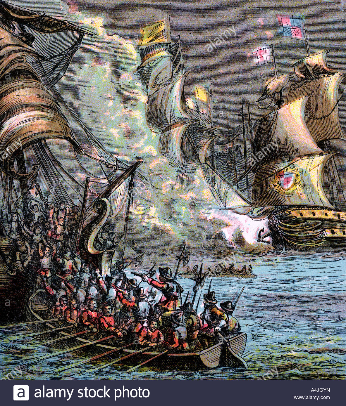 The Spanish Armada 1588 c1850 - Stock Image