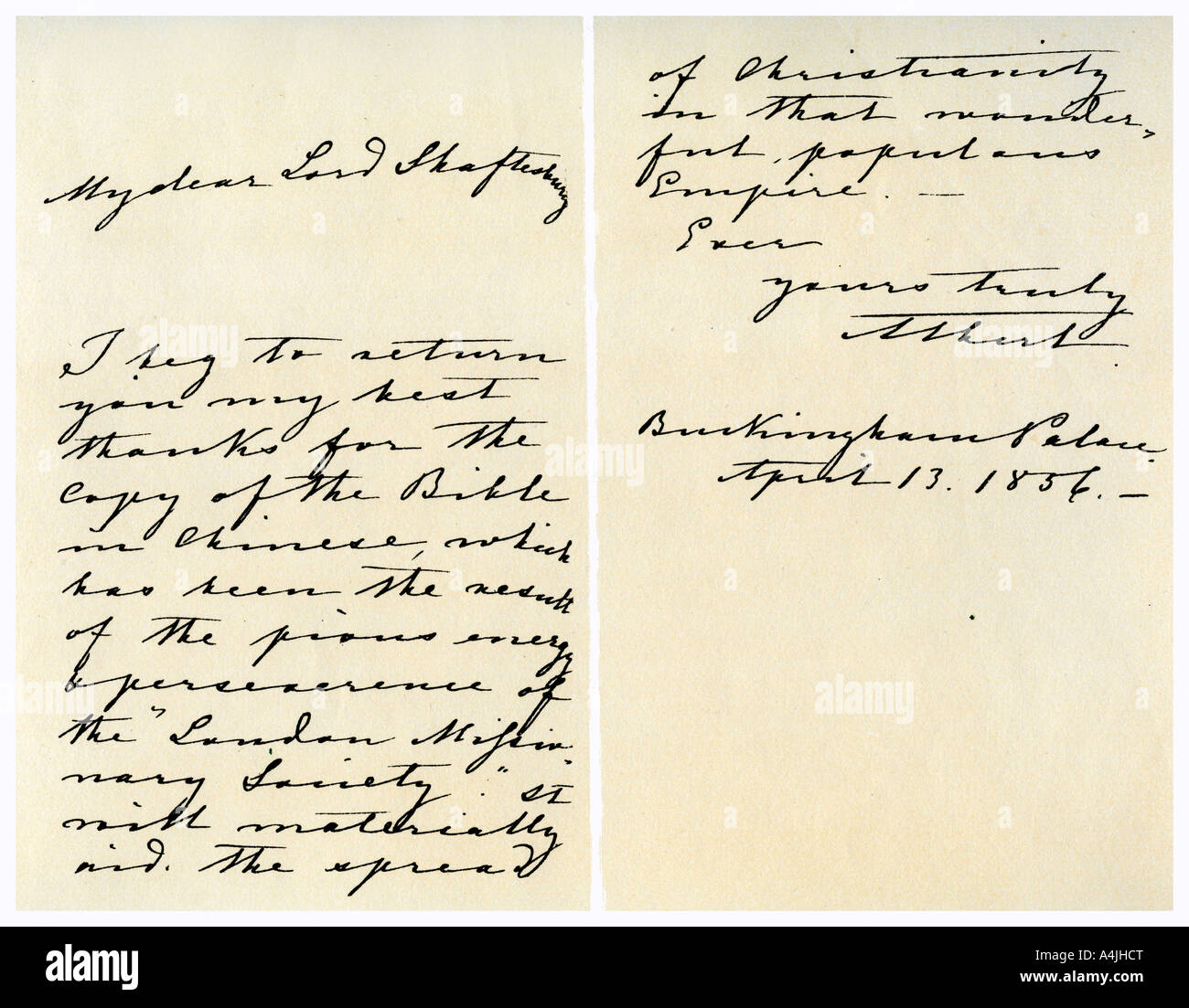 Letter from Albert, Prince Consort to Anthony Ashley Cooper, 13th April 1856.Artist: Prince Albert - Stock Image