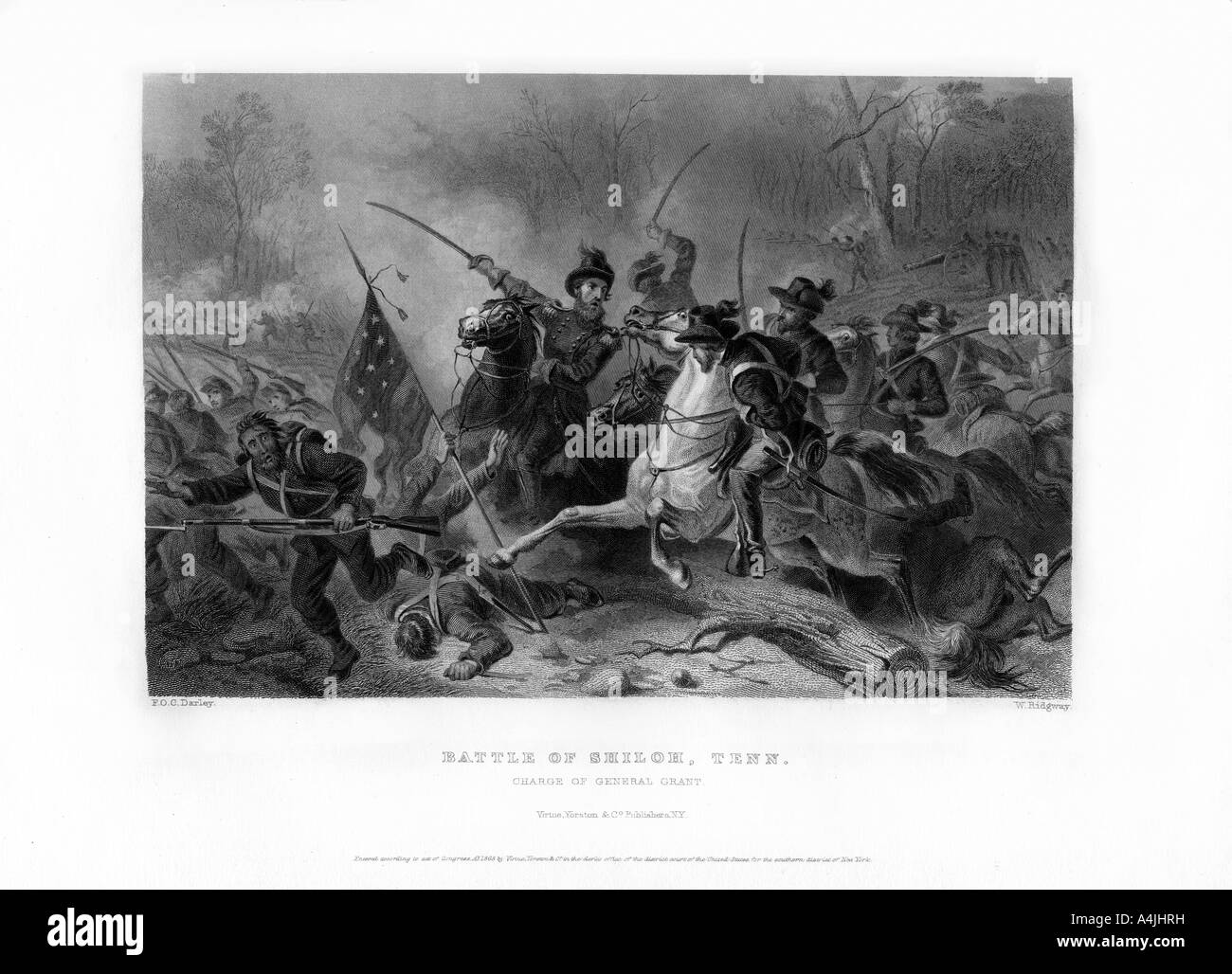 Charge of General Grant, Battle of Shiloh, Tennessee, April 1862, (1862-1867).Artist: W Ridgway - Stock Image